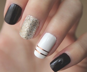 beautiful, black, and nail art image