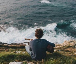 guitar, boy, and sea image