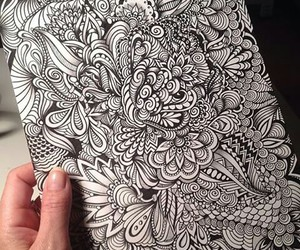 black&white, draw, and flowers image