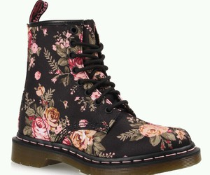 black, boots, and flowers image