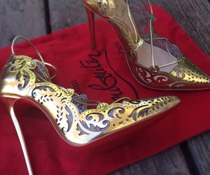 gold, fashion, and heels image