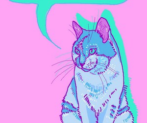 animal, cat, and neon image