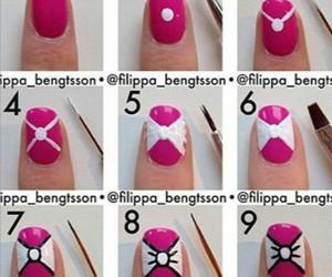 nails, pink, and bow image