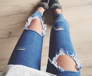 outfit, legs, and ripped jeans image