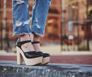heels, jeans, and street style image