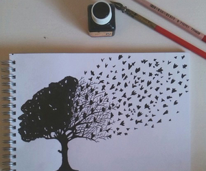 tree, art, and birds image