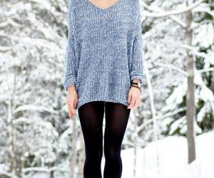 fashion, sweater, and snow image