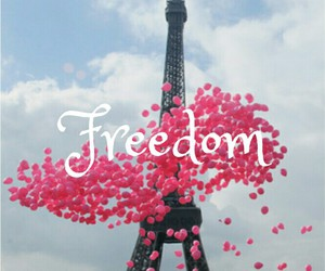 freedom, paris, and pink balloons image