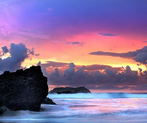sky, sunset, and ocean image