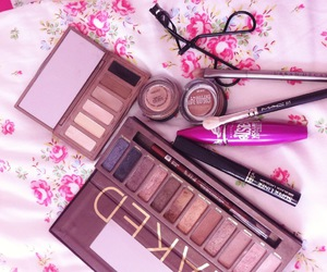chic, floral, and makeup image