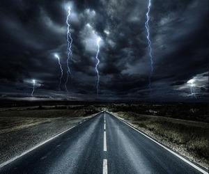lightning, dark, and rain image