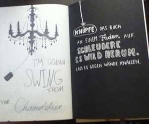 book, chandelier, and swing image
