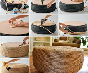 diy, recycling, and ottoman image