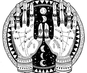 art, hands, and moon image