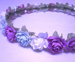 flowers, crown, and pastel image