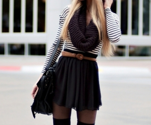 black&white, outfit, and scarf image