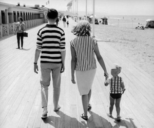 family, black and white, and beach image