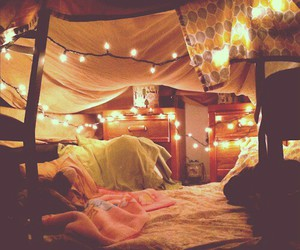blanket, lights, and pretty image