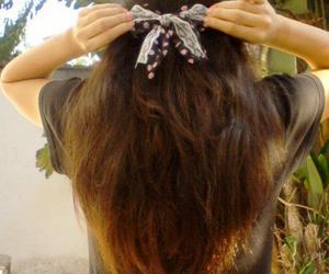 bow, brown hair, and hair image