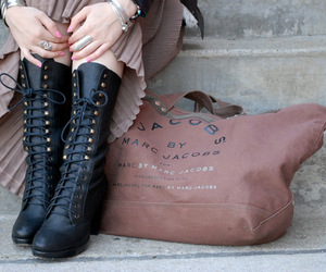 bag, boots, and street image