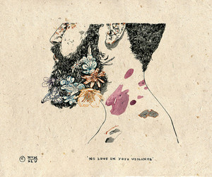 art, beard, and flowers image