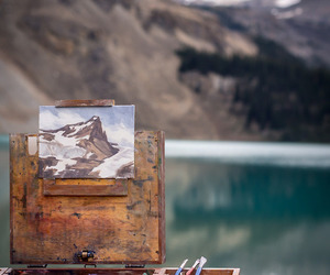 art, painting, and mountains image