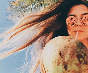 girl, summer, and coconut image