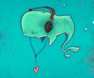 music, whale, and heart image