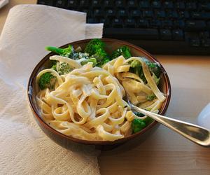 food, pasta, and broccoli image
