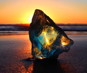 beach, sunset, and glass image
