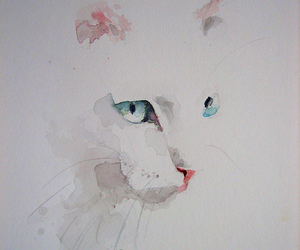 cat, art, and watercolor image