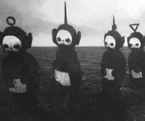 teletubbies, black and white, and black image