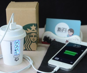 starbucks, iphone, and charger image
