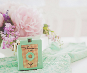camera, mint green, and pink image