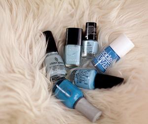 nails, nail polish, and blue image