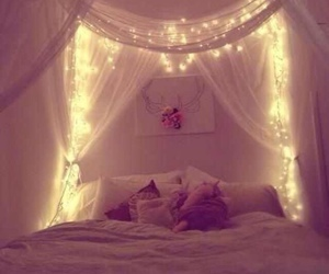 bedroom, lights, and pillows image