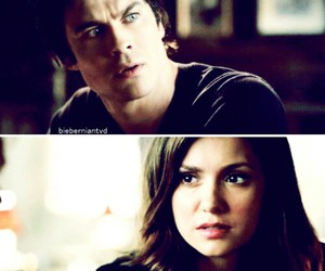 couple, vampire, and damon image