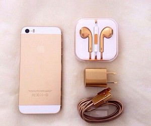 earphone, gold, and iphone 6 image