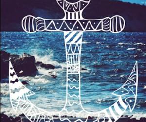 anchor, sea, and wallpaper image
