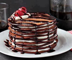 food, chocolate, and pancakes image