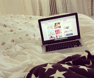 bed, macbook, and laptop image