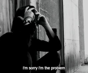 sad, problem, and black and white image