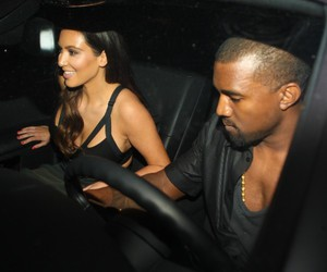 kanye west, kim kardashian, and car image