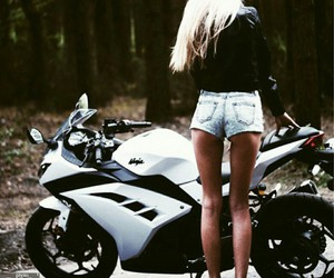 bike, blonde, and girl image