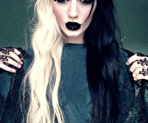 black lips, color hair, and hair image