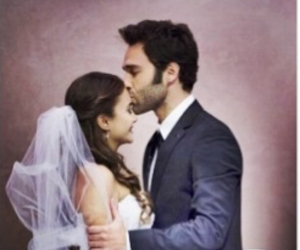 marriage, forehead kiss, and wedding image