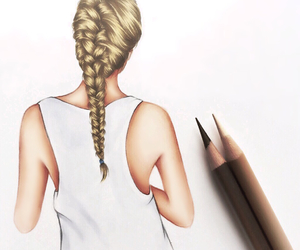 drawing, art, and braid image