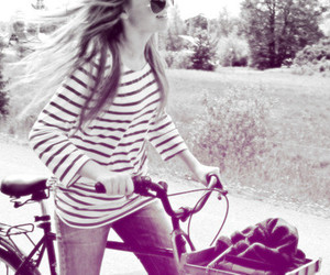 girl, bike, and black and white image