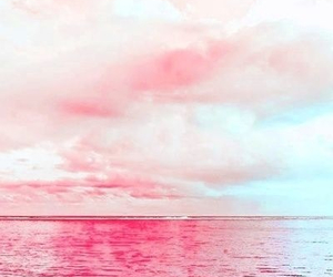 pink, sky, and sea image