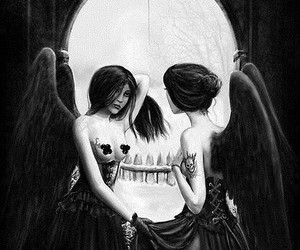 skull, angel, and woman image